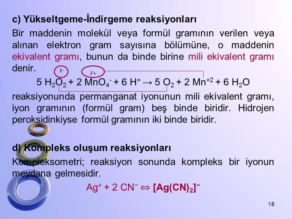 c) Yükseltgeme-İndirgeme reaksiyonları Bir maddenin molekül veya formül gramının verilen veya alınan elektron gram sayısına bölümüne, o maddenin ekivalent gramı, bunun da binde birine mili ekivalent gramı denir. 5 H2O2 + 2 MnO4- + 6 H+ → 5 O2 + 2 Mn+2 + 6 H2O reaksiyonunda permanganat iyonunun mili ekivalent gramı, iyon gramının (formül gram) beş binde biridir. Hidrojen peroksidinkiyse formül gramının iki binde biridir. d) Kompleks oluşum reaksiyonları Kompleksometri; reaksiyon sonunda kompleks bir iyonun meydana gelmesidir. Ag+ + 2 CN− ⇔ [Ag(CN)2]−